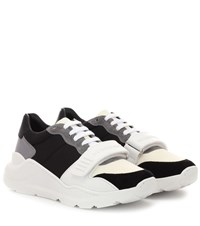 Burberry Suede Neoprene And Leather Sneakers White