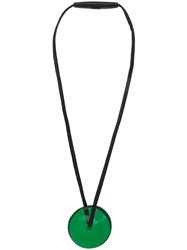 Monies Disc Pendant Necklace Green