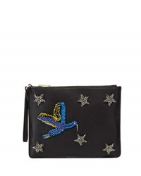 Cynthia Rowley Isla Crystal Star Beaded Bird Clutch Black