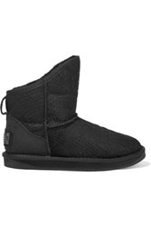 Australia Luxe Collective Cosy Short Croc Effect Shearling Ankle Boots Black