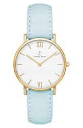 Kapten And Son Women's Joy Leather Strap Watch 32Mm Blue White Gold