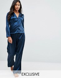 Wolf And Whistle Navy Satin Long Pyjama Set Ny1 Navy 1