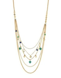 Jessica Simpson Crystal Layer Necklace Gold