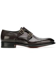 Santoni Buckled Monk Shoes Brown