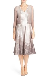 Women's Komarov Ombre Charmeuse A Line Dress And Chiffon Jacket