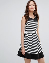 Wal G Skater Dress In Stripe Black