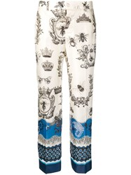 F.R.S For Restless Sleepers Crown And Bee Print Trousers White