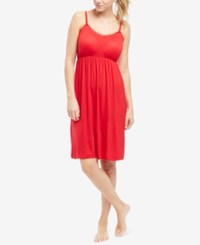 Motherhood Bump In The Night Maternity Lace Trim Nursing Nightgown Red