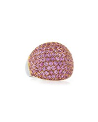 Lc Estate Jewelry Collection Estate Garavelli 18K Pink Sapphire And Diamond Ring Size 7.5