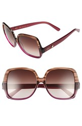 Women's Mcm 58Mm Oversize Square Sunglasses Striped Brown Cyclamen