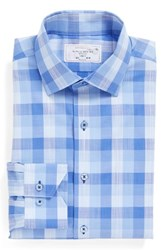 Lorenzo Uomo Men's Big And Tall Trim Fit Check Dress Shirt Blue