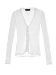 Dolce And Gabbana Lace Knit V Neck Cardigan White