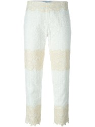 Blumarine Lace Cropped Trousers White