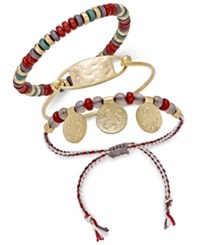 Inc International Concepts Gold Tone 3 Pc. Set Red Bead Bracelets Only At Macy's