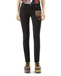 Gucci Angry Cat Embroidered Denim Pants Black Black Pattern