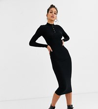 Noisy May Tall Ribbed Jersey Button Detail Midi Dress In Black