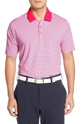 Cutter And Buck Men's Seapines Stripe Moisture Wicking Polo Surge