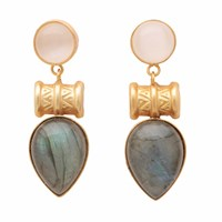 Carousel Jewels Labradorite And Moonstone Drop Earrings Gold Green Pink