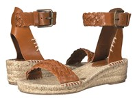 Soludos Woven Demi Wedge Open Toe Sandal Camel Leather Women's Wedge Shoes Tan