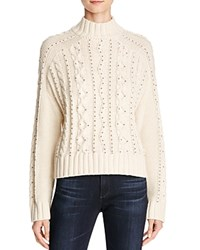 Aqua Beaded Cable Knit Sweater Natural