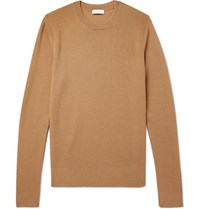 Sandro Slim Fit Textured Knit Wool Blend Sweater Camel