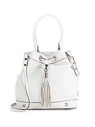 Milly Astor Drawstring Leather Backpack White