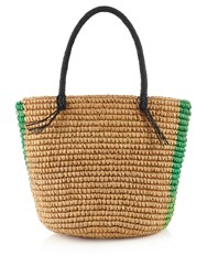 Sensi Studio Striped Woven Straw Tote Green Stripe
