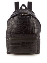 Saint Laurent Crocodile Effect Leather Backpack Black