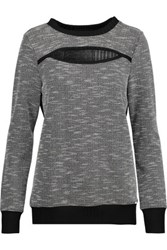 Koral Breach Cutout Paneled Boucle Knit And Ribbed Knit Sweater Black