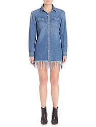 Peserico Fringe Shirt Dress Medium Blue