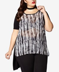 Mblm By Tess Holliday Trendy Plus Size Sheer Tie Dyed Top Black