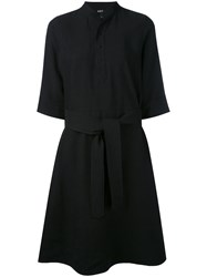 A.P.C. Flared Shirt Dress Women Linen Flax Tencel 40 Black