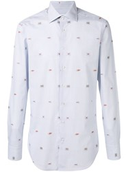 Etro Crab Embroidery Striped Shirt Blue