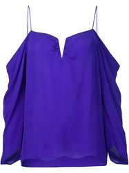 Nicole Miller Cut Out Draped Blouse Pink And Purple