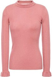 Red Valentino Redvalentino Woman Point D'esprit Trimmed Ribbed Cashmere And Silk Blend Sweater Antique Rose