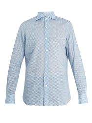 Finamore Gaeta Spread Collar Floral Print Cotton Shirt Blue White