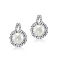 Lord And Taylor Faux Pearl Cubic Zirconia Sterling Silver Halo Drop Earrings