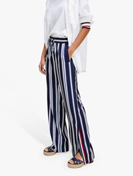 Tommy Hilfiger Icon Striped Wide Leg Trousers Blue White