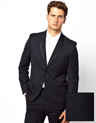 French Connection Slim Fit Tipped Suit Jacket Navy