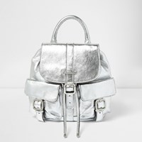 River Island Womens Silver Leather Pocket Backpack