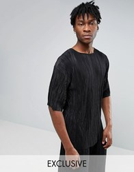 Reclaimed Vintage Oversized Plisse T Shirt Black