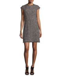 Rebecca Taylor Patchwork Houndstooth Fringe Trim Dress Teaberry Combo