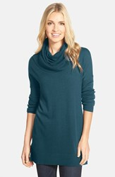 Petite Women's Caslon Side Slit Cowl Neck Tunic Teal Deep