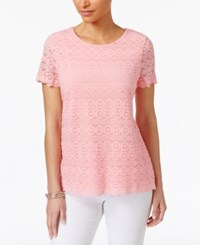 Charter Club Lace Scalloped Hem Top Only At Macy's Light Peony