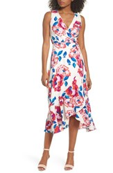 Charles Henry Floral Print Sleeveless Wrap Dress Ivory Red Blue