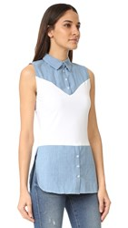 Skinnyshirt Sleeveless Shirt With Tails Chambray