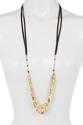 Free Press Leather Leaf Necklace Brown