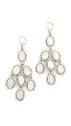 Kenneth Jay Lane Drop Wire Earrings White Mother Of Pearl