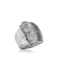 Hueb Plisse 18K White Gold Triple Diamond Ring