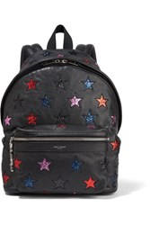 Saint Laurent City Glittered Leather And Twill Backpack Black